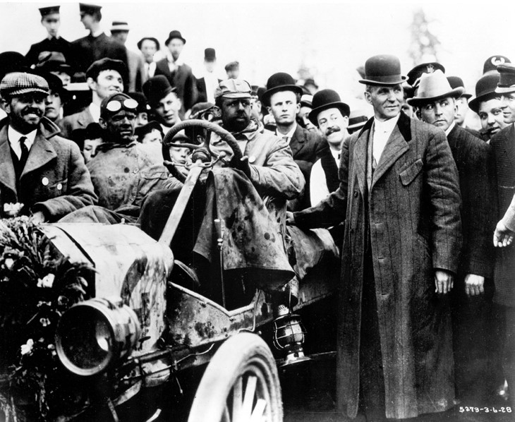 Henry Ford greets the Model T number 2 as it finishes the race in Seattle Ferens Collection 5
