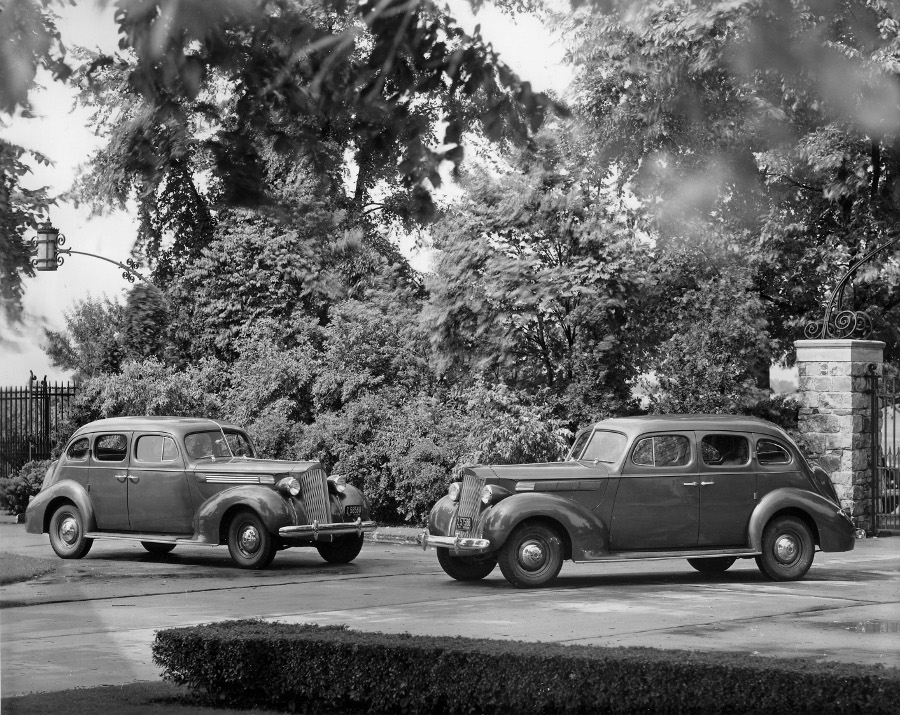 Two 1938 Packards on display at the Packard Proving Grounds 2 NAHC RESIZED