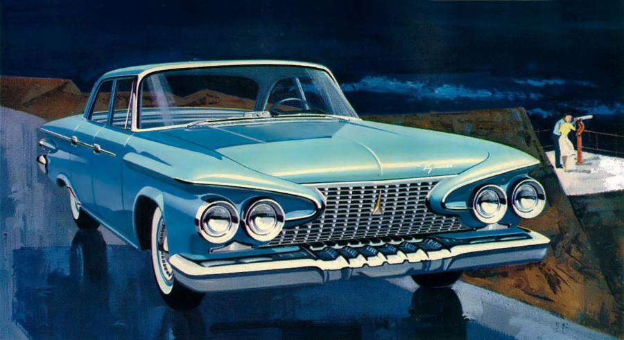 1961 Plymouth front end advertising art Robert Tate Collection RESIZED 1