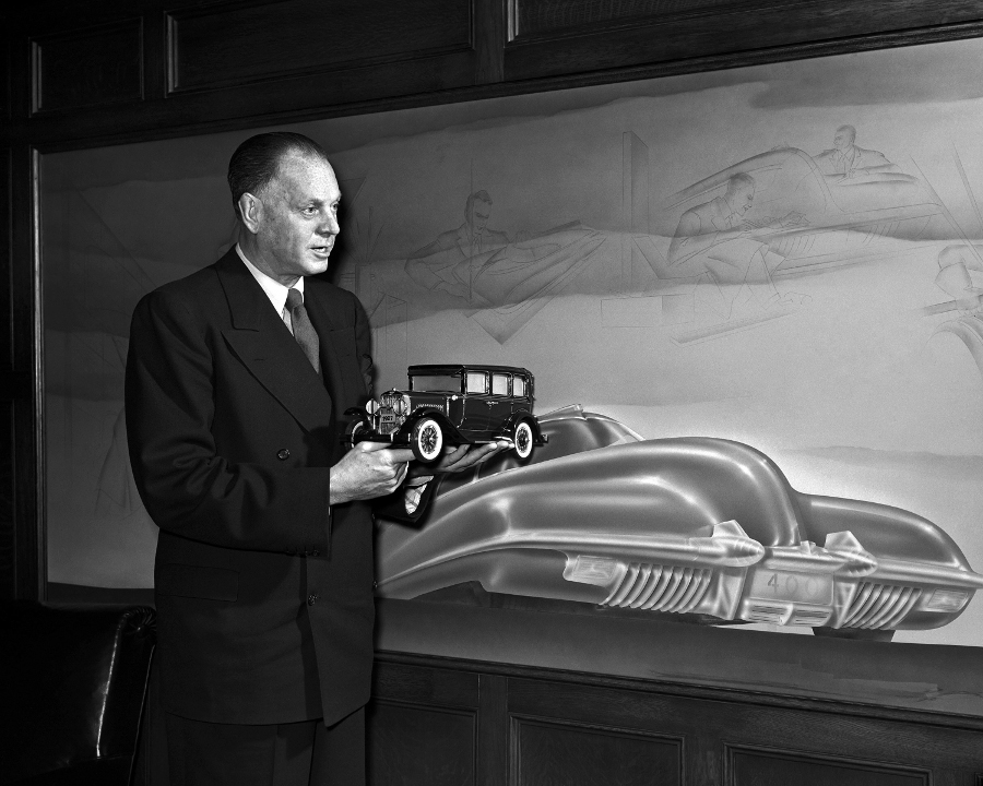 Harley Earl holding the first model he designed for General Motors GM Archive RESIZED 1