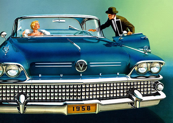 Color illustration of a 1958 Buick GM Media Archives