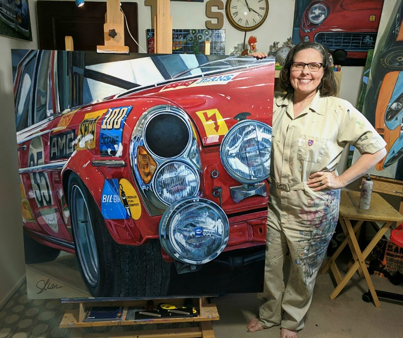 Fannin with a painting of a 1971 Mercedes race car 2