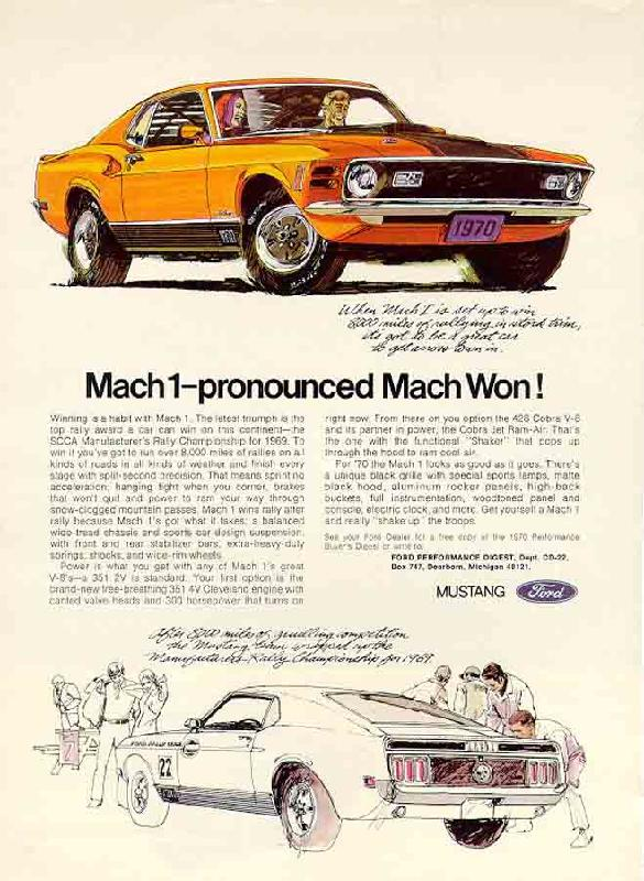 Ford Mustang Mach One ad Ford Robert Tate Collection 4
