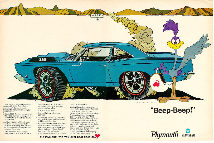 Plymouth Roadrunner 1968 ad Chrysler Robert Tate Collection RESIZED 3