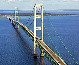 Mackinac Bridge from the air Wikipedia 5