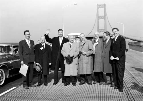 Opening Day Nov 1 1957 l to r MI Highway Commissioner John Mackie bridge designer David Steinman Gov G Mennen Williams former Governor Murray Van Wagoner other MI dignitaries Absolute Michigan 3