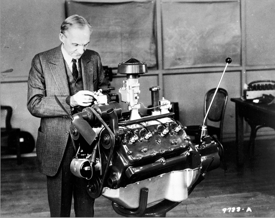 Henry Ford inspects an engine Ford Motor Company RESIZED 3