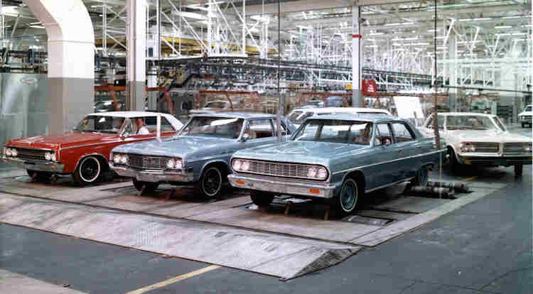 1964 Chevelle with other models being tested in Fremont GM Media Archives