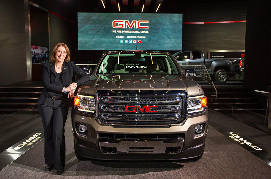 Helen Emsley with a GMC Canyon truck GM Media Archives 4