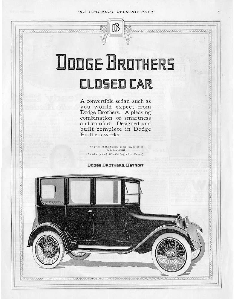 Dodge Brothers closed car ad Robert Tate Collection 5