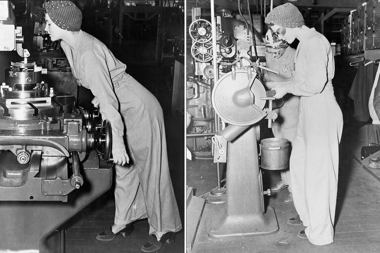 Two images of Naomi Parker Fraley working during the war Fraley Family 2