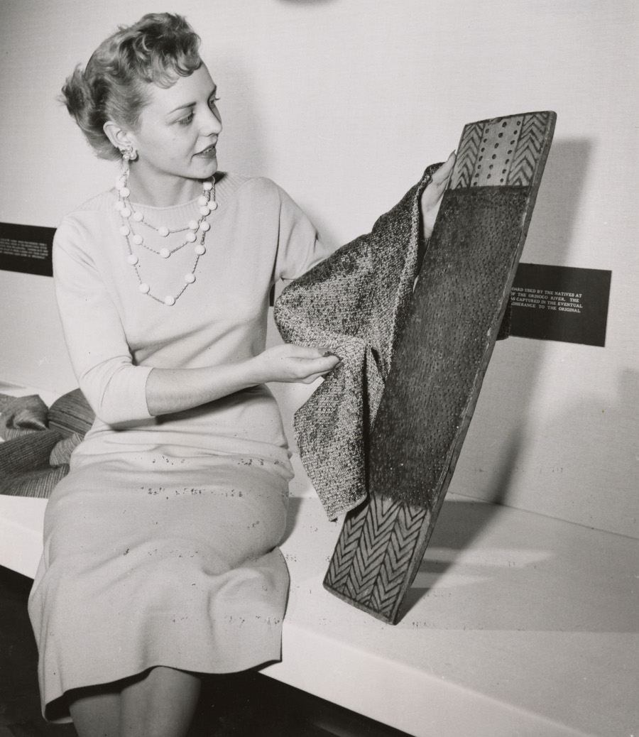 Chrysler secretary Dorothy Tokarczyk showing a fabric design 1950s RESIZED 6