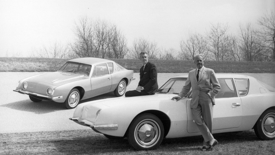 Two Studebaker vehicles with Raymond Loewy standing with Sherwood Egbert Curbside Classic RESIZED 3