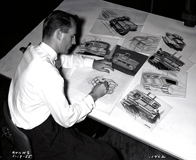 Chuck Jordan designing the GM Euclid Tractor in 1955 GM Archives 1