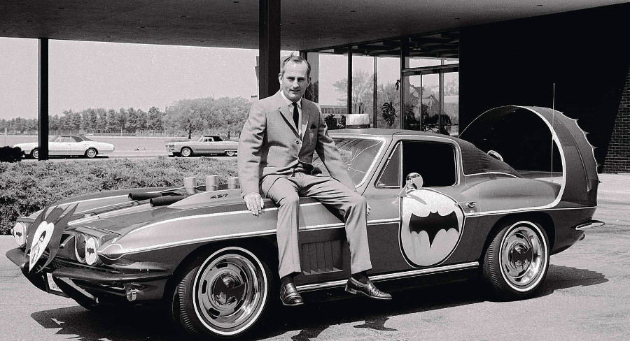 RESIZED Chuck Jordan having fun with a Corvette and Batmobile design theme 1960s GM Archives 5
