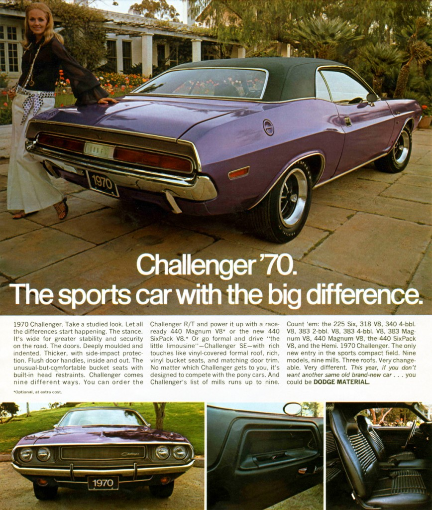 Ad for the 1970 Dodge Challenger Chrysler Archives 2