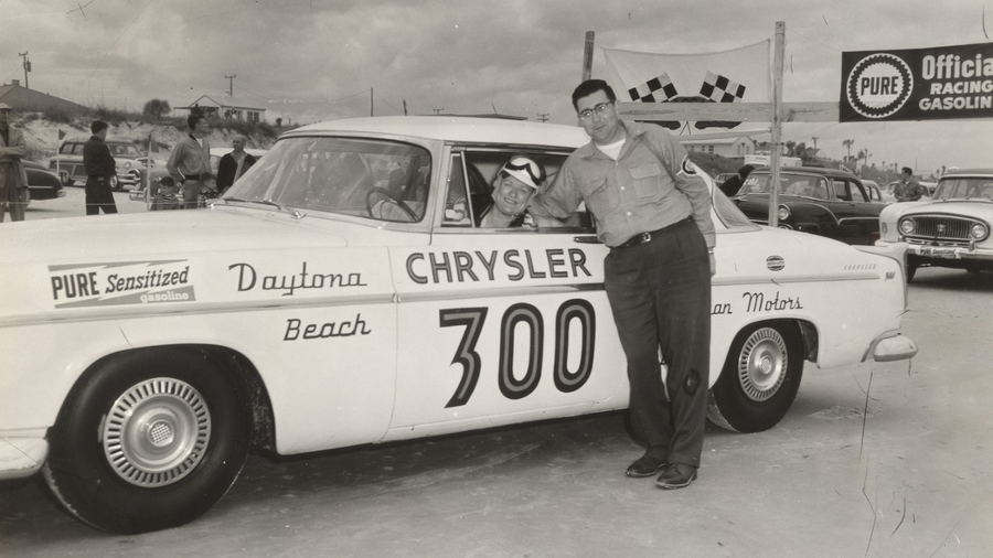 RESIZED Vicki Wood behind the wheel of a 1955 Chrysler 300 at Daytona Beach AutoWeek 1