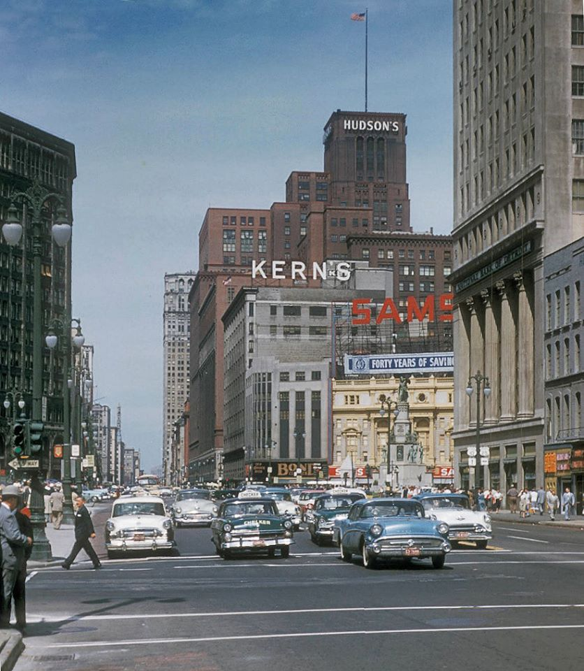 1950s image of Woodward Avenue in downtown Detroit 6
