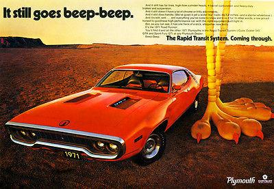 1971 Plymouth Road Runner ad Chrysler Archives 5