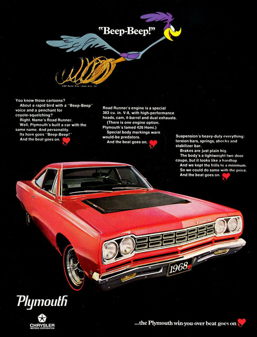 RESIZED 1968 Plymouth Road Runner ad Chrysler Archives 1