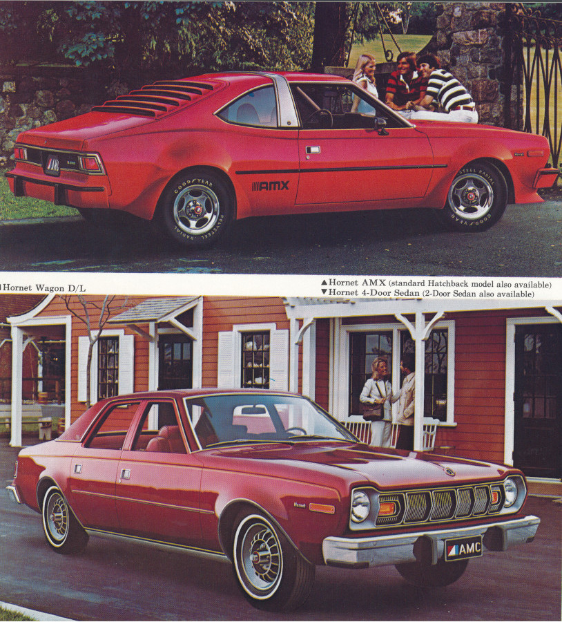 3 1977 AMC Hornet AMX top and Hornet sedan below Tate Collection RESIZED 3