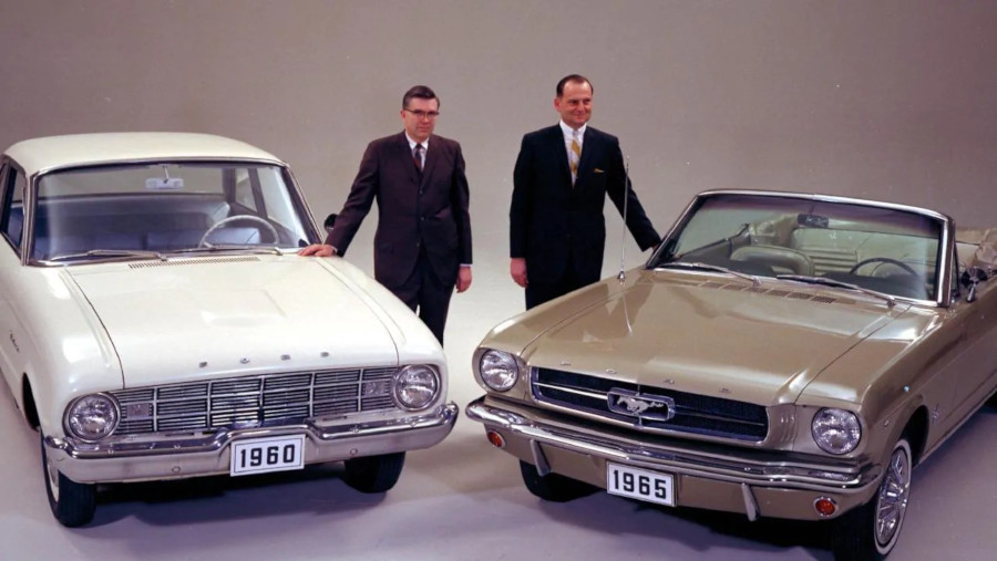 Iacocca and Mustang with engineer Don Frey and Ford Falcon RESIZED 1