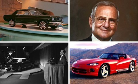 Lee Iacocca collage including Ford Mustang and Dodge Viper CarandDriver.com 8