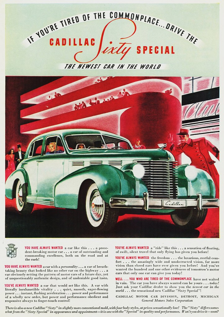 An ad for the 1938 Cadillac Sixty Special Tate Collection 1
