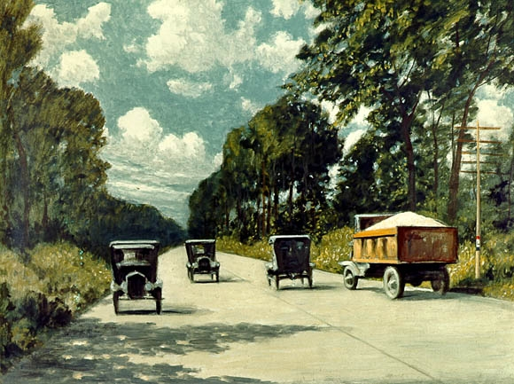 Lincoln Highway color painting by Carl Rakeman 1