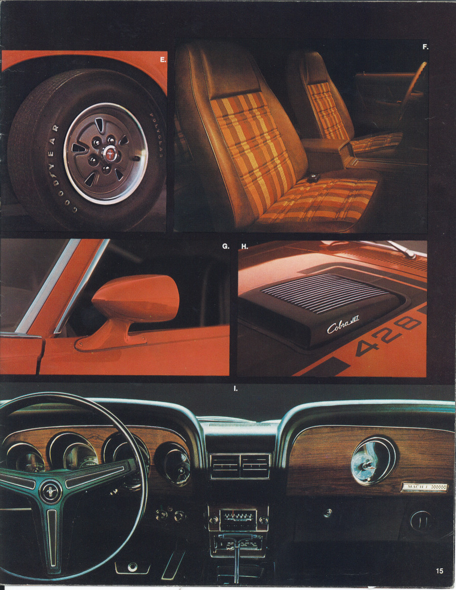 Images from a 1970 Ford Mustang brochure (Ford Motor Company)