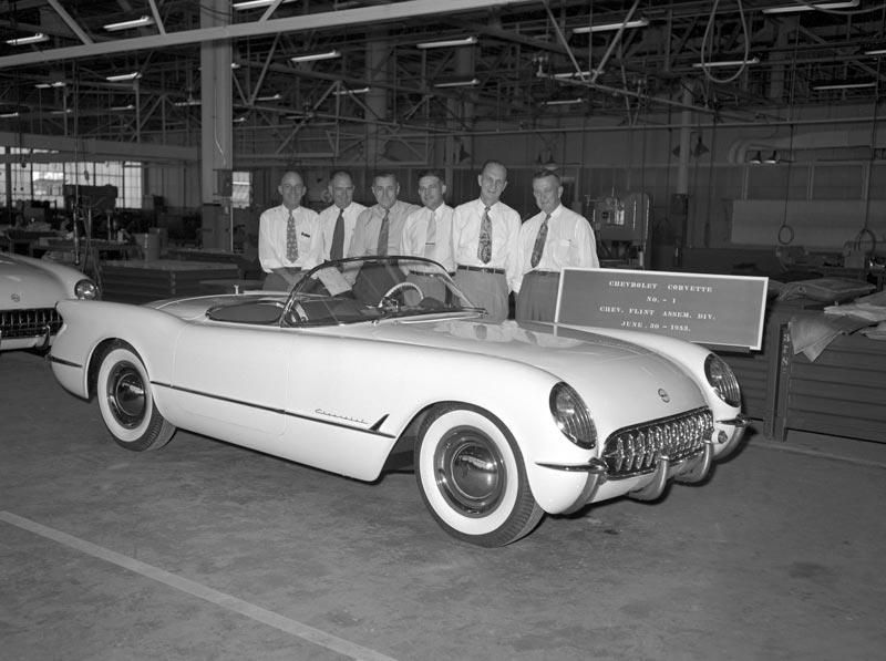 GM staff pose with first Corvette produced in Flint GM Media Archives 4
