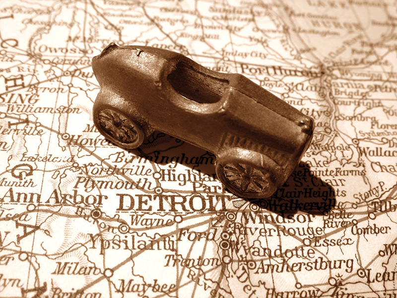Vintage Car Map Detroit