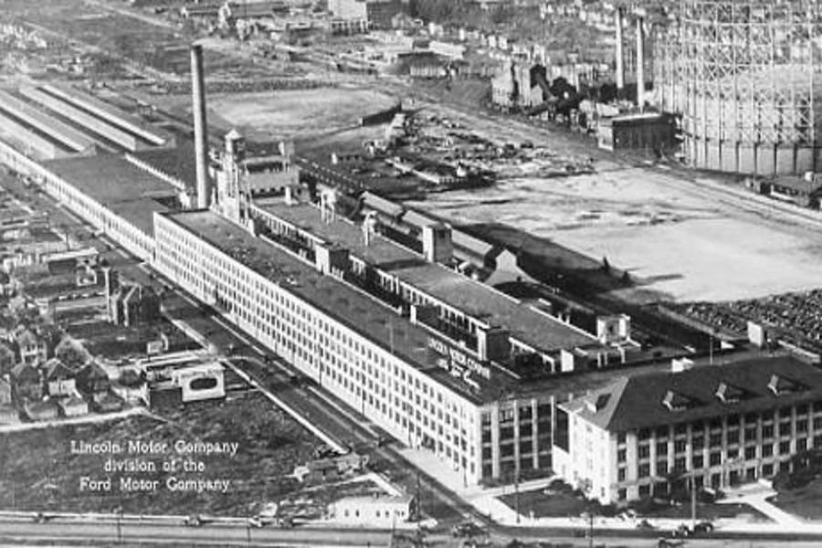 In 1917, Henry Leland established the Lincoln Motor Company to build Liberty engines for fighter planes using Ford Motor Company-supplied cylinders. Leland immediately purchased this a small factory on Detroit's west side. However, he quickly realized the facilities were not sufficient, so he purchased a 50-acre plot of land at Warren and Livernois. The company immediately broke ground for a factory complex of over 600,000 square feet.  In 1922, Henry Ford purchased the company for $8,000,000, turning the Lincoln into Ford Motor Company's luxury brand. Ford immediately began refurbishing the plant layout and manufacturing. Ford also added onto the size of the complex, hiring architect Albert Kahn to design some of the many buildings along Livernois, adding over 300,000 square feet to the plant. The Lincoln Zephyr and Continental were made in the factory until 1952, when production facilities were moved to Wixom, MI.